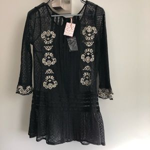 NWT Free People Pleated Black Lace Top